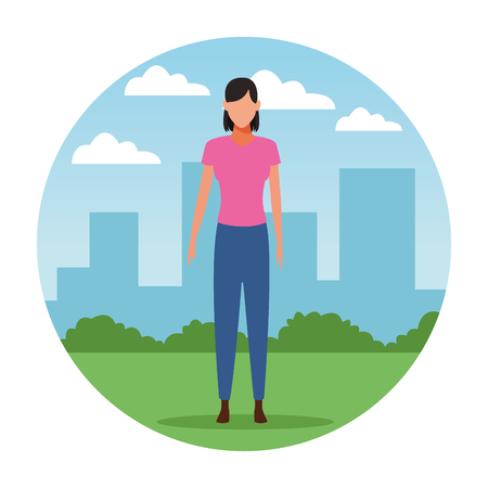 woman avatar cartoon character   at cityscape round icon vector illustration graphic design Foto de archivo - 122301660