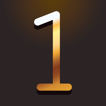 one number gold metallic font with shadow over dark background vector illustration Illustration