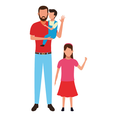 man with children avatar cartoon character vector illustration graphic design