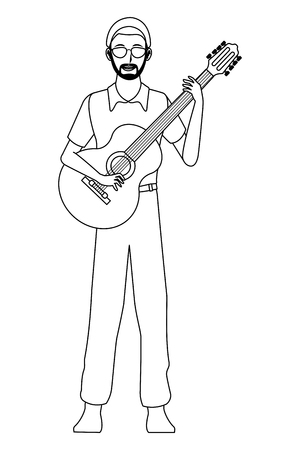 musician playing guitar avatar cartoon character black and white vector illustration graphic design