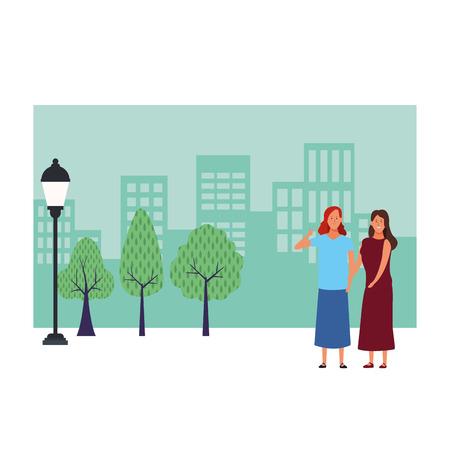 women avatar cartoon character thumb up wearing skirt and dress  over cityscape scenery vector illustration garphic design