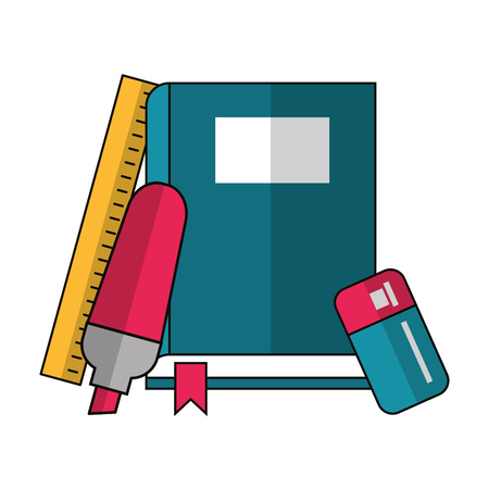book with marker and rule icon cartoon vector illustration graphic design Ilustração