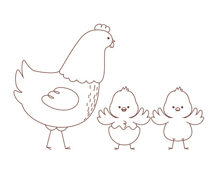 Happy  farm animals hen chicks pair wearing eggshell easter season drawing black and white outline vector illustration graphic design