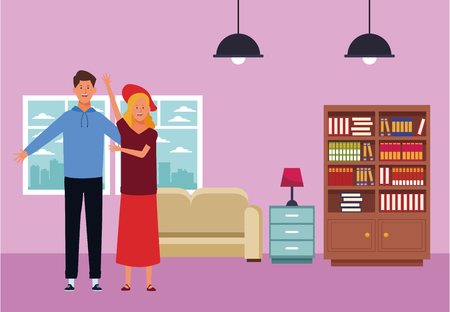 couple avatar cartoon character hand up wearing hat  inside home apartment vector illustration garphic design