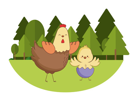 Happy farm animals hen and chick wearing eggshell easter season drawing  on grass with trees scenery vector illustration graphic design Çizim