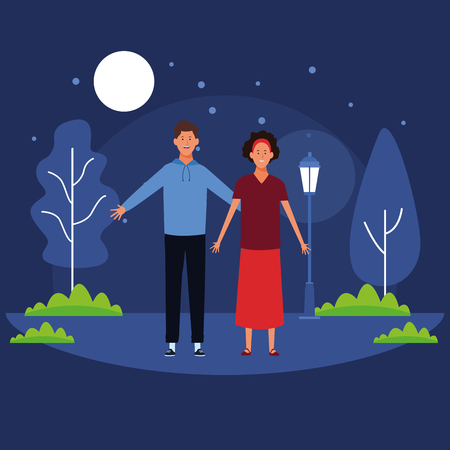couple avatar cartoon character open arms wearing headband and casual clothes in the park at night scenery vector illustration garphic design