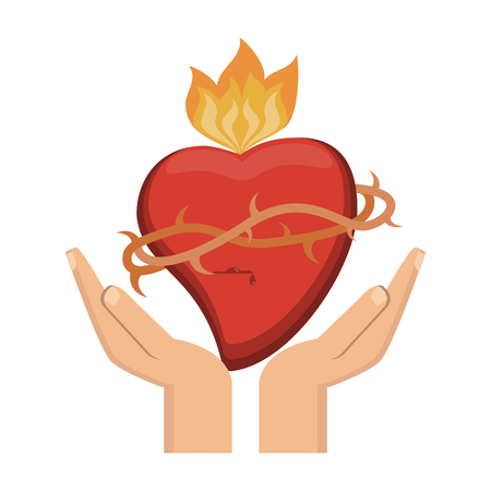 hands with sacred heart with flamme vector illustration graphic design 일러스트