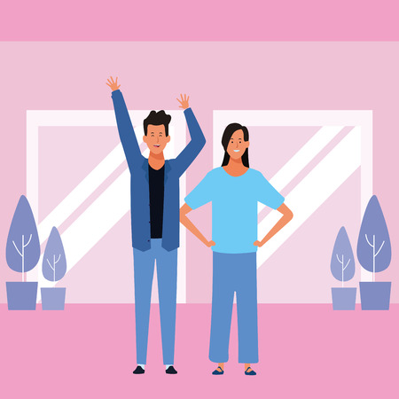 couple avatar cartoon character hands up wearing blazer  vector illustration garphic design