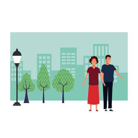 men avatar cartoon character open arms wearing skirt and headband  over cityscape scenery vector illustration garphic design