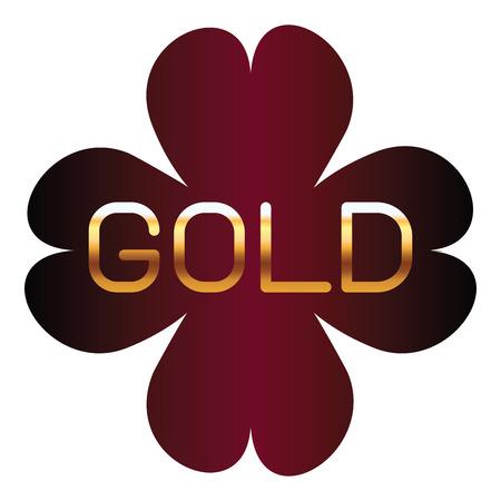 gold metallic font on red elegant label isolated vector illustration