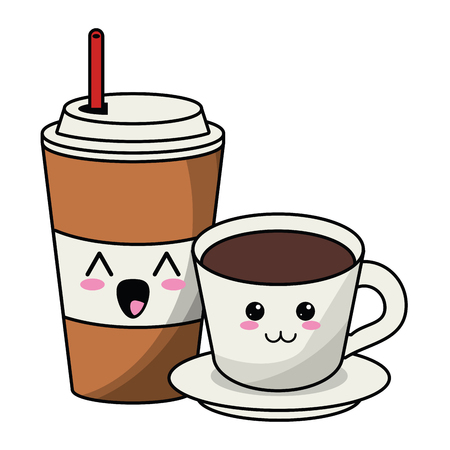 Ice coffee cup and drink hot cute cartoon vector illustration graphic design