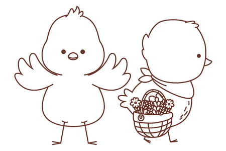 Happy  farm animals chicks pair carrying wicker basket easter season drawing black and white outline vector illustration graphic design