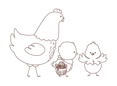 Feliz granja animales gallina polluelos par vistiendo cáscara de huevo llevando cesta de mimbre temporada de pascua dibujo contorno blanco y negro ilustración vectorial diseño gráfico Ilustración de vector