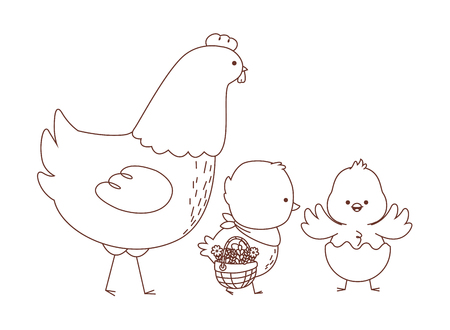 Happy  farm animals hen chicks pair wearing eggshell carrying wicker basket easter season drawing black and white outline vector illustration graphic design