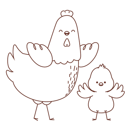 Happy farm animals hen and chick easter season drawing black and white outline vector illustration graphic design