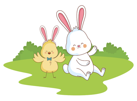 Happy farm animals white bunny and chick easter season drawing  on grass with trees round icon scenery vector illustration graphic design Illustration