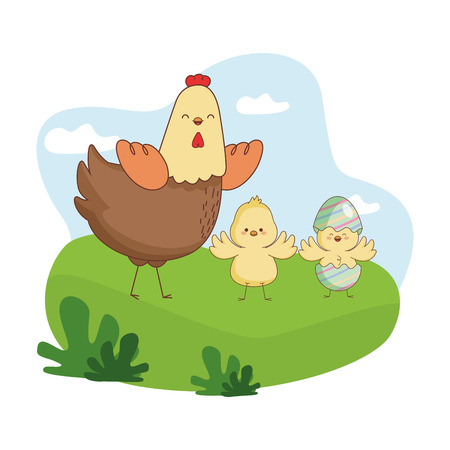 Happy farm animals hen chicks pair wearing eggshell easter season drawing  on grass with trees round icon scenery vector illustration graphic design