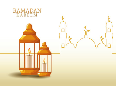 ramadan kareem with lantern and mosque shape ramadan kareem with oillamp and mosque shape vector illustration