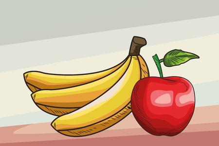 Fresh fruit nutrition healthy grouped bananas and apple fitness diet options brown and grey background vector illustration graphic design Illustration