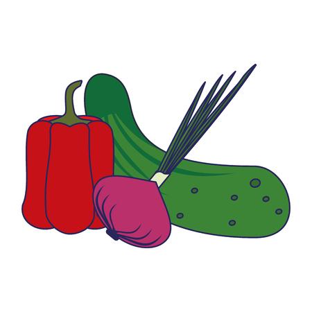 Fresh vegetables healthy food cartoon vector illustration graphic design Illustration