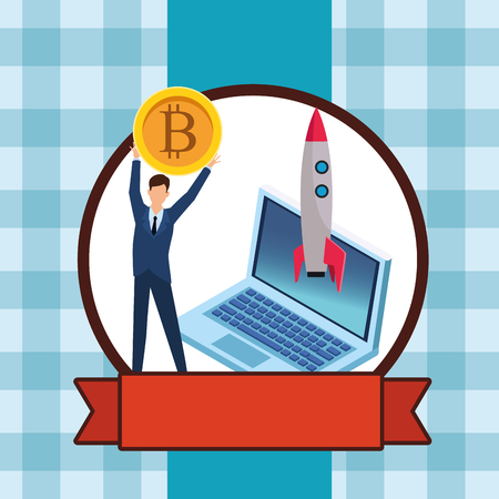 businessman holding cryptocurrency bitcoin with laptop and skyrocket checkered pattern round icon vector illustration graphic design