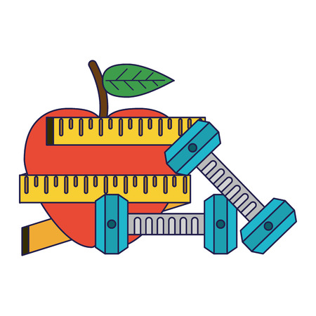 Healthy lifestyle and weight loss apple with measurement tape and dumbbells vector illustration graphic design Çizim