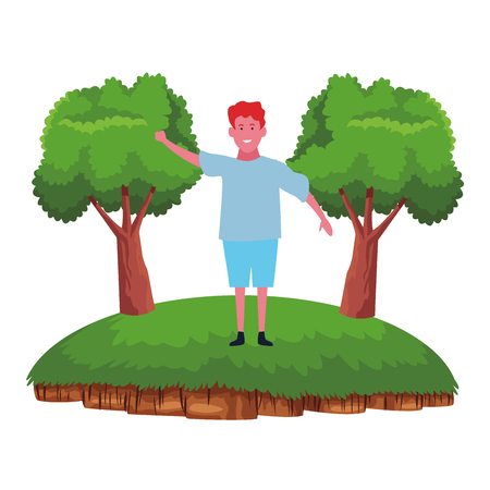 Kid boy greeting and smiling cartoon in the nature forest