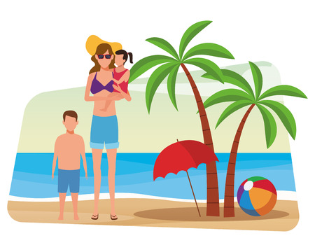 summer vacation woman at beach with children cartoon vector illustration graphic design  イラスト・ベクター素材