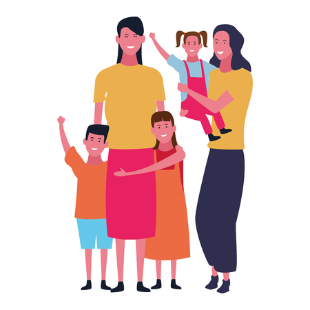 Family single mtohers with daughters and son vector illustration graphic design