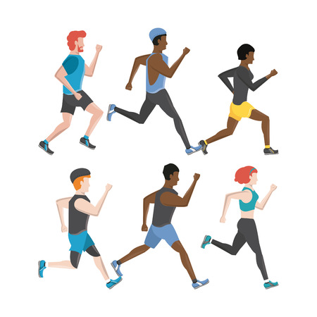 Fitness people running characters set collection vector illustration graphic design Stock Illustratie
