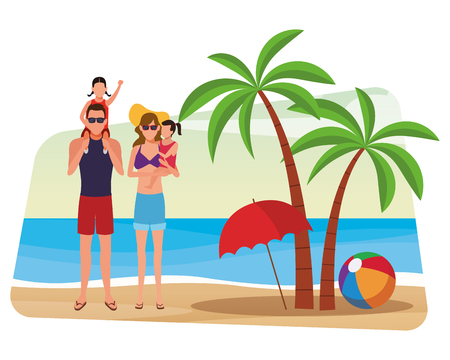 summer vacation family couple at beach with children cartoon vector illustration graphic design  イラスト・ベクター素材