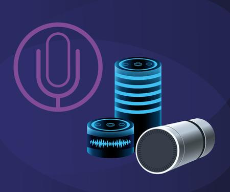 Smartphone voice recognition speaker over purple background vector illustration graphic design Illustration