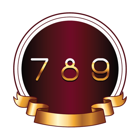 Seven eight and nine numbers on round label with ribbon banner brightly icon 写真素材 - 122381973