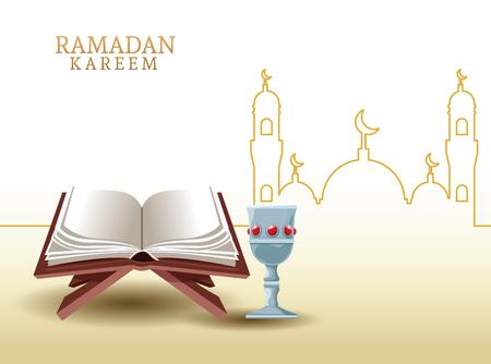ramadan kareem avec coran et forme de mosquée ramadan kareem avec lampe à huile et illustration vectorielle en forme de mosquée