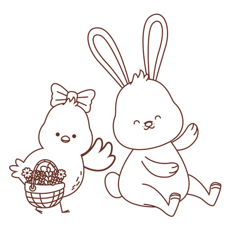 Happy  farm animals white bunny and chick carrying wicker basket carrying wicker basket easter season drawing black and white outline vector illustration graphic design