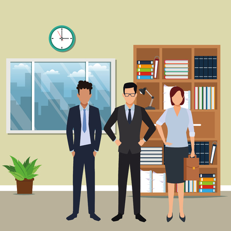 executive business coworkers cartoon  inside office building scenery vector illustration graphic design