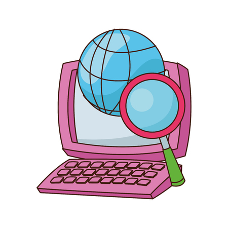 desk computer with magnifying glass and global sphere vector illustration graphic design