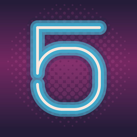 five blue font number neon over purple background dotted style vector illustration Illustration