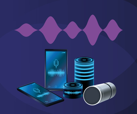 Smartphone voice recognition speaker over purple background vector illustration graphic design 向量圖像