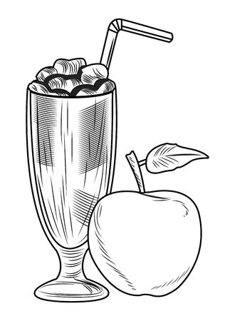 Nutrition de fruits frais sains groupés milk-shake congelé et options de régime de remise en forme de pomme dessin illustration vectorielle noir et blanc conception graphique Vecteurs