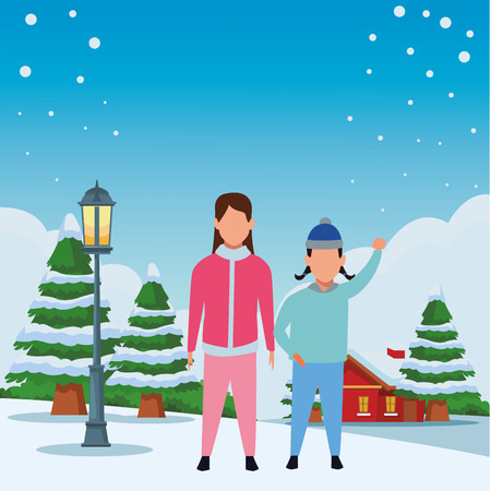 children wearing winter clothes avatar cartoon character with knitted cap snowing town lanscape vector illustration graphic design Stock Illustratie