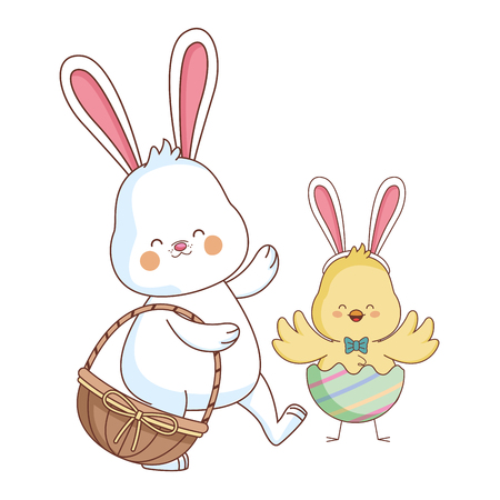 Happy farm animals white bunny and chick carrying wicker basket carrying wicker basket easter season drawing vector illustration graphic design