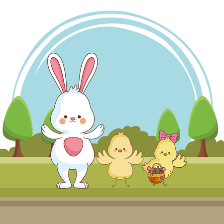 Happy farm animals white bunny chicks pair carrying wicker basket carrying wicker basket easter season drawing  on grass with trees scenery vector illustration graphic design