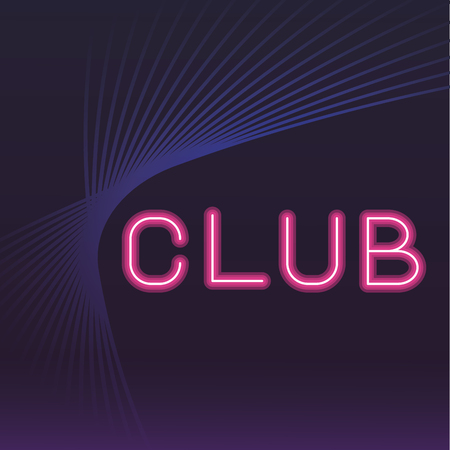 club neon pink advertising with blue waves vector illustration