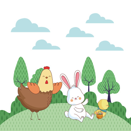 Happy farm animals hen white bunny  easter season drawing  on grass with trees scenery vector illustration graphic design