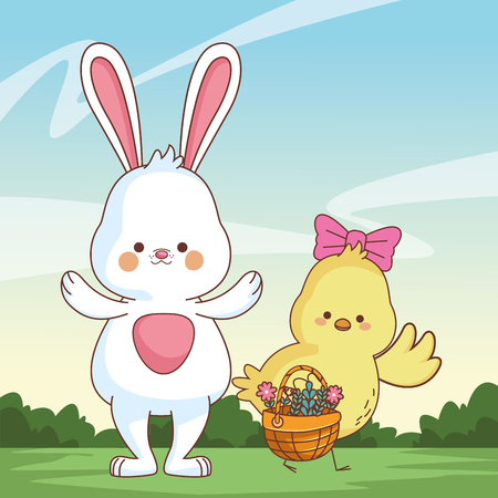 Happy farm animals white bunny and chick carrying wicker basket easter season drawing  on grass with bushes scenery vector illustration graphic design