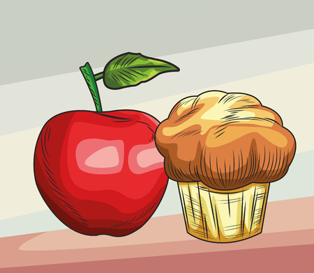 Fresh fruit nutrition healthy grouped apple and muffin fitness diet options brown and grey background vector illustration graphic design Ilustração