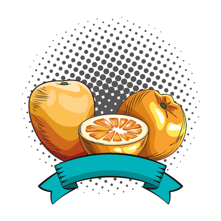 Fresh fruit nutrition healthy grouped mango and orange fitness diet options round frame ribbon banner vector illustration graphic design Banco de Imagens - 122382958