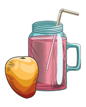 Fresh fruit nutrition healthy grouped colorful mango and juice glass fitness diet options drawing vector illustration graphic design