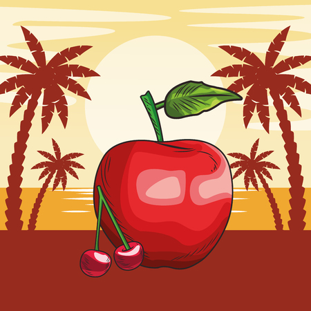 Fresh fruit nutrition healthy grouped cherry and apple fitness diet options beach palm trees background vector illustration graphic design Stock Illustratie